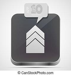 gråne, eps10, app, vektor, ikon pil, boble, speech.