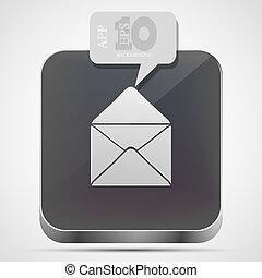 gråne, eps10, app, vektor, post, ikon, boble, speech.
