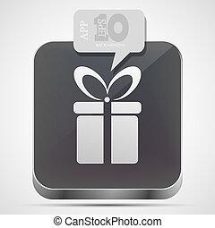 gråne, eps10, gave, app, vektor, ikon, boble, speech.