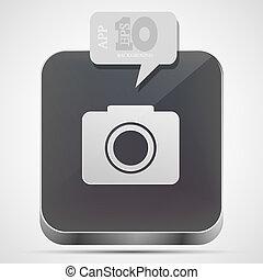 gråne, eps10, kamera, app, vektor, ikon, boble, speech.