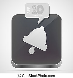 gråne, eps10, klokke, app, vektor, ikon, boble, speech.