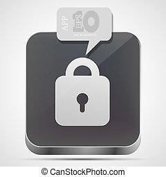 gråne, eps10, lås, app, vektor, ikon, boble, speech.