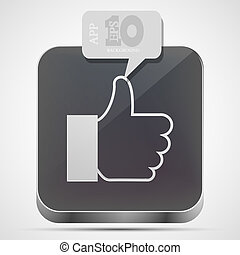 gråne, eps10, ligesom, app, vektor, ikon, boble, speech.