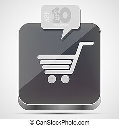 gråne, indkøb, app, vektor, eps10, ikon, boble, speech.