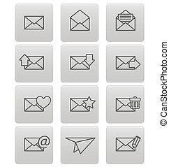 gråne, kvadraterer, konvolut, email, iconerne