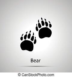 gråne, silhuet, aftryk, enkel, bjørn, poter, foranstaltninger, sort