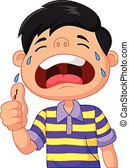 græderi, cartoon, dreng, because, skære