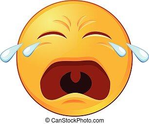 græderi, ikon, vektor, emoji