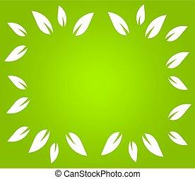 grænse, blade, grønnes hvide, baggrund