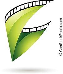grønne, haspe, blanke, film, ikon