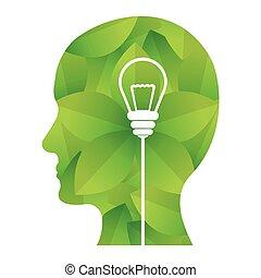 grønne, image, konstruktion, ideer, tanker