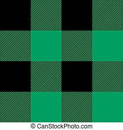 grønne, plaid, tartan, shamrock, pattern.