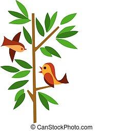 grønnes træ, to fugle
