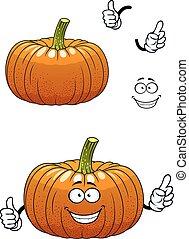 grønsag, karakter, pumpkin, cartoon, morsom