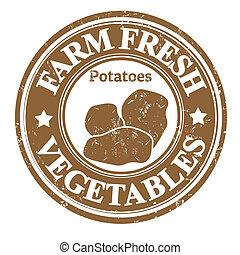 grønsag, kartofler, frimærke, eller, etikette