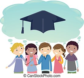 graduere, teenagere, illustration, sky, tænkning