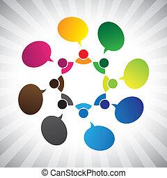 grafik, netværk, folk, chatting-, tales, vektor, sociale, eller
