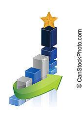 graph, stjerne, leder, branche underskriv