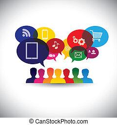 graphic., medier, snakke, væv, networking, forbrugere, iconerne, medier, -, kommunikation, også, online shopping, indkøb, brugere, internet, grafik, det gengi'r, vekselvirkning, denne, og, vektor, sociale, eller