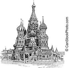 gravering, basil's, helgen, vinhøst, moskva, katedral, rusland