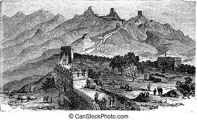 gravering, great mur, vinhøst, kina, during, 1890s