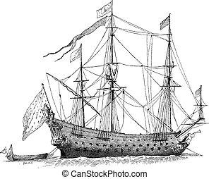gravering, vinhøst, skib, fransk, soleil-royal