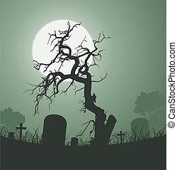 graveyard, afdødt træ, halloween, uhyggelige