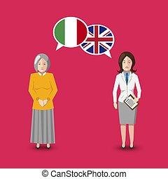 great, begreb, italien, sprog, folk, studium, to, illustration, britain, tale, hvid, flags., bobler