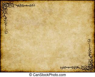great, gamle, tekstur, avis, konstruktion, baggrund, udsmykket, pergament