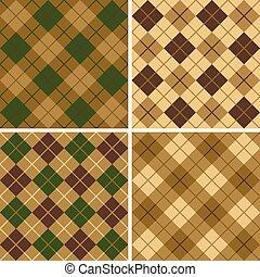 green-brown, mønster, argyle-plaid