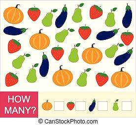 greve, berries, pumpkin)., jordbær, frugter, mange, grønsager, antal, hvordan, boldspil, mathematics., lærdom, children., (pear, optælling, preschool, eggplant