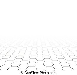 grid, hexagonal, perspektiv, surface.