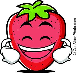 grinning, jordbær, frugt, karakter, cartoon