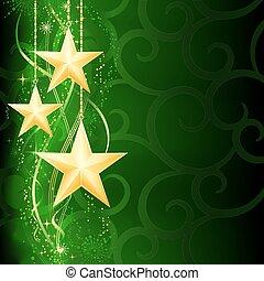 grunge, baggrund, sne, elements., jul, festlige, gylden, grønne, mørke, stjerner, flager