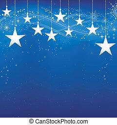 grunge, blå baggrund, sne, elements., jul, festlige, mørke, stjerner, flager