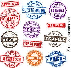 grunge, frimærker, 2, kommerciel, sæt