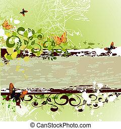 grunge, konstruktion, sommerfugle, banner