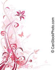 grunge, lyserød, blomstrede