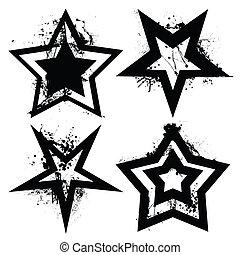 grunge, sæt, stjerne