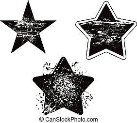 grunge, sæt, vektor, konstruktion, beskadig, stjerne, element
