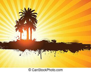 grunge, sommer, håndflade træ, baggrund