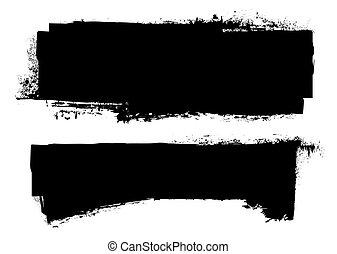 grunge, sort, banner, blæk