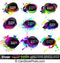 grunge, speach, boble, 1, -, sæt, samling