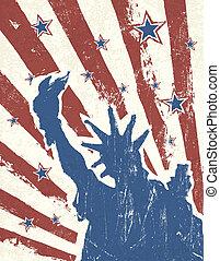 grunge, themed, baggrund., amerikaner, vector., dag, uafhængighed