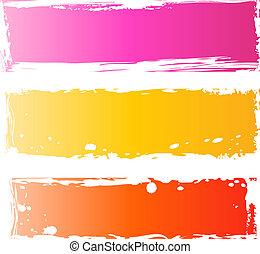 grungy, bannere, kønne, multicolored