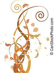 grungy, efterår, illustration