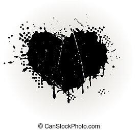 grungy, hjerte formede, splat, blæk