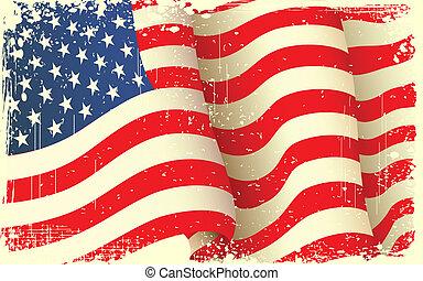 grungy, vink, amerikaner flag