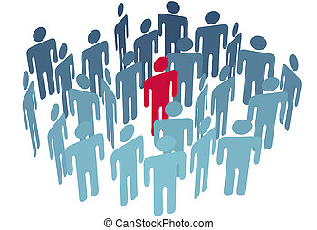 gruppe, centrum, figur, folk, selskab, nøgle, mand