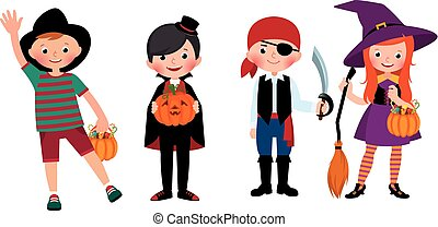 gruppe, costumes., halloween, illustration, børn, vektor, cartoon